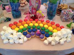 My Little Pony rainbow cupcakes dessert table