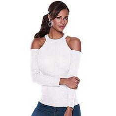 c62d826b57e33 Julvie Long Sleeved T-shirt Polo Strapless Irregular Blouses Tunic Shirt  Tops at Amazon Women s Clothing store