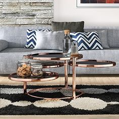 Furniture of America Cara Contemporary Round Motion Glass Metal Coffee Table Rose Gold Furniture, Copper Living Room, Sofa End Tables, Table, Furniture Of America, Coffee Table, Copper Furniture, Living Room Designs, Rose Gold Coffee Table