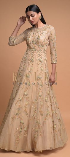 Light Golden Sheer Overlay A-Line Gown with Floral Embroidery Formal Dresses With Sleeves, Gowns With Sleeves, Full Sleeves, Peach Gown, Champagne Dress, Champagne Color, Mother Of Bride Outfits, A Line Gown, Groom Dress
