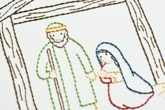 The Stable  Christmas Nativity PDF Embroidery Pattern by wildolive, $4.00
