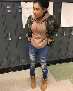 Fall swag outfits, baddie outfits casual, swag outfits for girls, ghetto outfits, Teenage Outfits, Dope Outfits, Trendy Outfits, Girl Jordan Outfits, Ghetto Outfits, Tims Outfits, Baddie Outfits Casual, Camo Jacket Outfits, Fall Tomboy Outfits