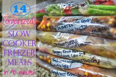 Freezer meals in 90 minutes. The Realistic Organizer: {Organized} Slow Cooker-Freezer Meals. Slow Cooker Freezer Meals, Make Ahead Freezer Meals, Crock Pot Freezer, Crock Pot Slow Cooker, Slow Cooker Recipes, Freezer Recipes, Dump Meals, Freezable Meals, Cook Meals
