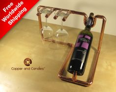 Industrial copper Steampunk wine bottle holder by CopperAndCandles, $160.00
