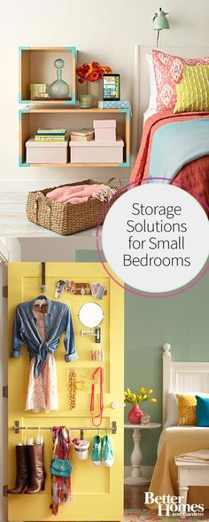 If you have a small bedroom, use this guide to plan smart storage solutions that work for your small space or tiny closet. Keep things organized and still looking stylish with these cheap and easy storage ideas for the bedroom. - Diy for Home Decor Craft Storage Ideas For Small Spaces, Bedroom Storage Ideas For Clothes, Bedroom Storage For Small Rooms, Small Bedroom Organization, Small Space Bedroom, Small Master Bedroom, Small Space Storage, Storage Spaces, Organization Ideas