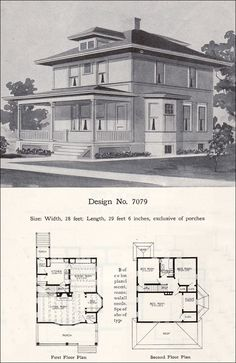 prairie box american foursquare 1908 radford plan no 7079 - 1919 House Plans