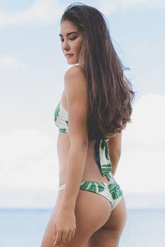 Greenlee Cheeky Brief Bottom in Green Leaf from Society Bikini Hawaii
