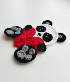 Panda bear applique Crochet pattern, cute applique pattern for bags, crafting, scrapbooking and nursery wall art! Crochet Panda, Crochet Bear, Crochet Gifts, Crochet Applique Patterns Free, Basic Crochet Stitches, Crochet Basics, Bear Valentines, Christmas Applique, Double Crochet
