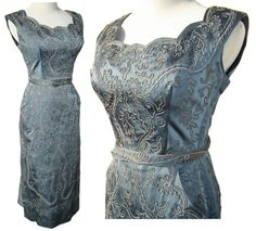 Vintage 50s Cocktail Dress Satin Gunmetal Gray Soutache Rhinestones S / M by metroretrovintage on Etsy https://www.etsy.com/listing/175490578/vintage-50s-cocktail-dress-satin