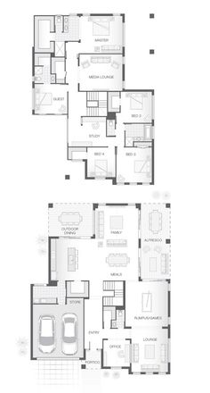 Multiple living and entertaining spaces, both upstairs and downstairs provide family space. 5 Bedroom House Plans, Family House Plans, New House Plans, Dream House Plans, House Floor Plans, Double Storey House Plans, Double Story House, Br House, Sims House