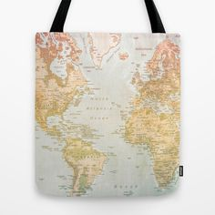 Limited edition world map large tote bag by merybradley on etsy pastel world tote bag gumiabroncs Images