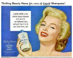 Marilyn Monroe vintage ad for lustre-creme shampoo.