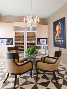 PLATNER PERFECTION: transitional dining room with #platner table, wine fridges and cool flooring #pattern