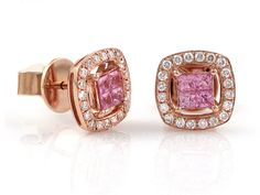 Rose Gold Pink Sapphire And Diamond Stud Earrings Sapphire And Diamond Earrings, Diamond Stud, Pink Sapphire, Diamond Rings, Rose Gold Pink, 18k Rose Gold, Tan Skin, Gemstone Necklace, Most Beautiful