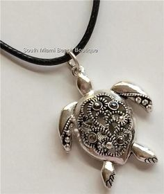 Silver Crystal Sea Turtle Necklace Filigree Crystals Pendant Sea Life Black Cord #SouthMiamiBeachBoutique #Pendant