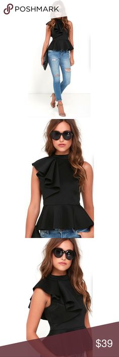 'Juliana' Side Ruffle Peplum Top in Black NWT 'Juliana' Side Ruffle Peplum Top in Black Your office job may be boring, but our Juliana Peplum Top defiantly isn't!  Features: Black color, Side Ruffle, mock neckline, sleeveless, bodycon style, Peplum waist, silver back zipper PEPLUM  Size: Small Medium Large Xlarge XXLarge ** refer to size chart for most accurate fit ** Moda boutique SF @modabyboutique  MB0130 Tops Blouses