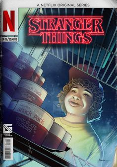 """Dustin and the Chocolate Pudding"" comic book cover by Douglas Franchin Souza (Stranger Things)"