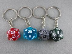 If you like this why not favorite it? We love the love!    Handmade dice keychain using real gaming dice.    Each keychain comes with your choice of