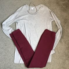 """NWOT-Thick Fleece Lined Leggings Never worn, guess my ass is bigger than I thought, because they're perfect for winter, just to small for me! Color is burgundy. Brand is """"Dream out Loud"""" by Selena Gomez. Smoke/pet free home Selena Gomez Pants Leggings"""