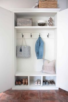 See how you can transform your entry way with hiding a cute mudroom setup inside an armoire! Free plans for a DIY mudroom in an armoire! Diy Storage Cabinets, Mudroom Laundry Room, Base Moulding, Bench With Storage, Cottage Interiors, New Living Room, Home Renovation, Armoire, Tuesday Wednesday