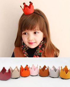 mini felt crowns on an elastic headband