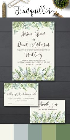 Wedding Invitation Printable, Floral Wedding Invitations, Elegant Watercolor Wedding Invitation Suite, Greenery and succulents Wedding Ideas - pinned by pin4etsy.com