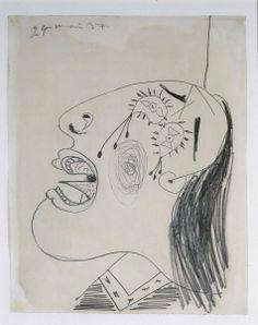 Estudio de cabeza llorando (I). Dibujo preparatorio para «Guernica»