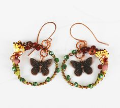 Beautiful Butterfly In The Garden Wire Wrap Unique Charm Crystal Flower Earrings