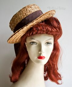 Vintage 1960s/70s Edward Mann Quality Straw Boater Hat with Ribbon by UpStagedVintage on Etsy