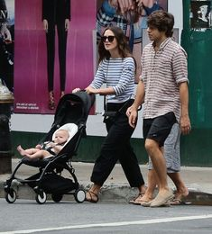 Actress Keira Knightley and husband James Righton show off their daughter Edie for the first time while on a walk in New York City, New York on August 31, 2015. Keira's mother Sharman Macdonald was also out with the family.