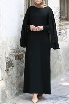 Cape Dress in Black cape dress cape dress long cape dress white cape dress pattern cape dress black cape dress mennonite cape dress zara Modest Fashion Hijab, Abaya Fashion, Hijab Chic, Fashion Dresses, Abaya Designs, Hijab Dress Party, Hijab Outfit, Hijab Mode Inspiration, Abaya Mode