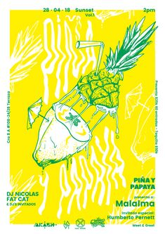Pineapple and Papaya Poster on Inspirationde Pineapple and papaya is an independent event tour Graphic Design Brochure, Graphic Design Posters, Graphic Design Illustration, Graphic Art, Illustration Art, Poster Print, Poster On, Layout Design, Design Art