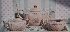 Sadler Tea Set - Teapot, Milk Jug, Sugar Bowl, Lamp shape, Vintage English Pink Floral and Gilt Pottery, Good Condition, Lids present, Rare by ImagineHowCharming on Etsy