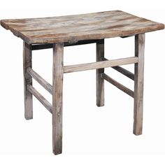 Reclaimed elm wood end table with a distressed finish.Product: End tableConstruction Material: Reclaimed elm wood...
