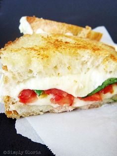 Caprese Grilled Cheese ~ french bread, tomatoes, mozzarella, fresh large basil leaves, butter, grated Parmesan...