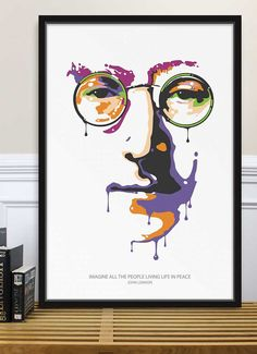 Poster John Lennon Imagine Peace, The Beatles, Graphic Art, Illustration, Home Decor.