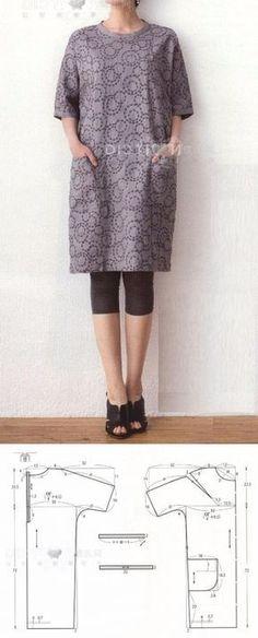 Выкройка-шаблон платья-туники с цельнокроеными рукавами и застежкой на спинке (Шитье и крой) | Журнал Вдохновение Рукодельницы
