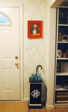"APARTMENT IDEAS  washi tape ""wallpaper"" design on the white wall."