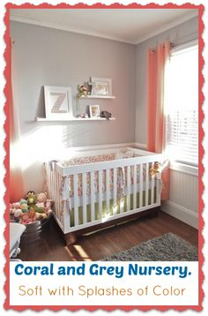 Baby Girl Room Nursery Idea – Coral and Grey. Soft, simple and modern. ..for baby boy just sway coral with pale green! #babynursery #babygirlroom #babyroomideas #baby #nurseryideas