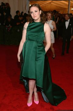 Lena Dunham -the pink shoes are really cute with the green, but I probably wouldn't go for it -I love the green dress though