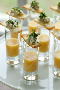 Yellow Tomato Gazpacho Shooters with Basil Crab Salad Crostinis