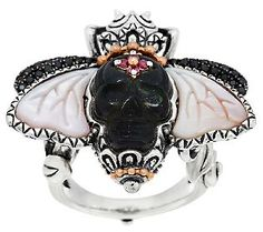 Barbara Bixby Sterling & 18K Mother-of-Pearl & Gemstone Bee Ring