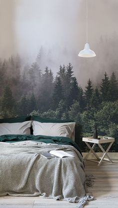 Rest easy amongst the treetops with this breathtakingly beautiful forest wallpaper Intense hues of emerald green contrast the thick mist giving your bedroom spaces depth. Green Bedroom Design, Bedroom Green, Cozy Bedroom, Dream Bedroom, Master Bedroom, Forest Bedroom, Emerald Bedroom, Forest Green Bedrooms, Bedroom Bed