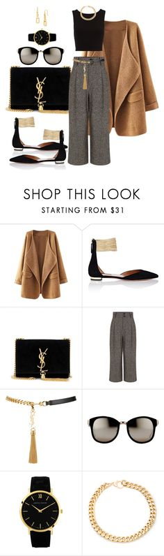 """Newsie"" by anaisninsiana ❤ liked on Polyvore featuring Aquazzura, Yves Saint Laurent, Pink Tartan, Linda Farrow, Larsson & Jennings, Alessandra Rich and Diane Von Furstenberg"