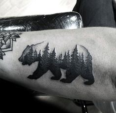 Bear With Forest Of Trees Guys Simple Outer Forearm Tattoo Designs