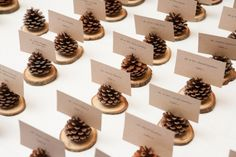 Love these pinecone place card holders.