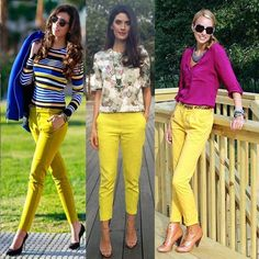 [New] The 10 Best Outfit Ideas Today (with Pictures) - Yellow Jeans Outfit, Yellow Clothes, Yellow Pants, Business Casual Outfits, Classy Outfits, Cute Outfits, Yellow Fashion, Colorful Fashion, Vestidos Neon