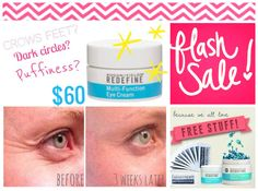 Flash Sale! ⚡  Get rid of those under eye bags, crows feet, and puffiness! For 6/28 and 6/29 only, you can get the Redefine Eye Cream for $60 out the door (I'll cover shipping and tax) PLUS a free gift with purchase: your choice of either a mini facial or Essentials Lip Shield chapstick! Message me if you're interested! jkpayne.myrandf.com