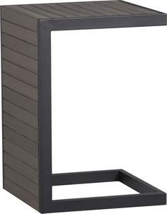Alfresco Grey Side Table-Stool  | Crate and Barrel.  Can be used as side table or flip for coffee table