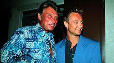 Johnny Hallyday et son fils David, en août 1992                                                                                                                                                     Plus